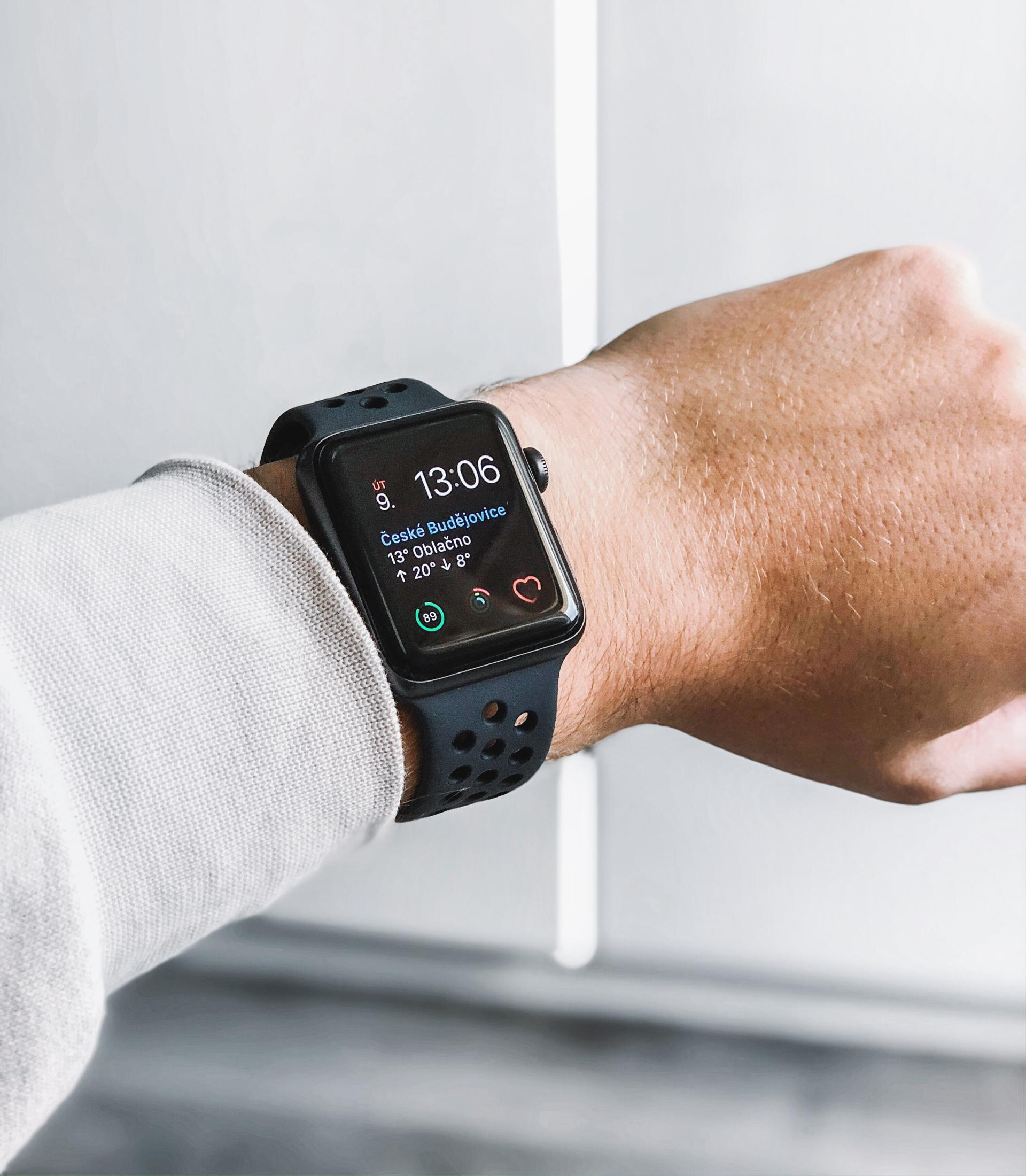 apple watch on persons wrist